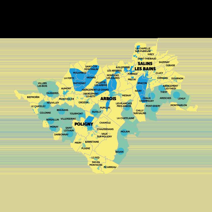 Carte montée en débit et très haut débit CC APS Cœur du Jura