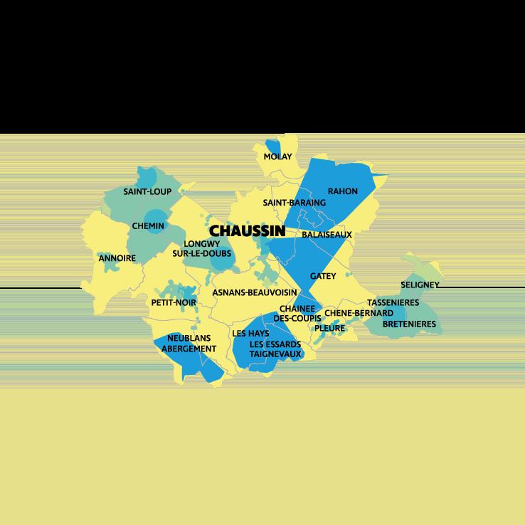 Carte montée en débit et très haut débit CC Plaine Jurassienne