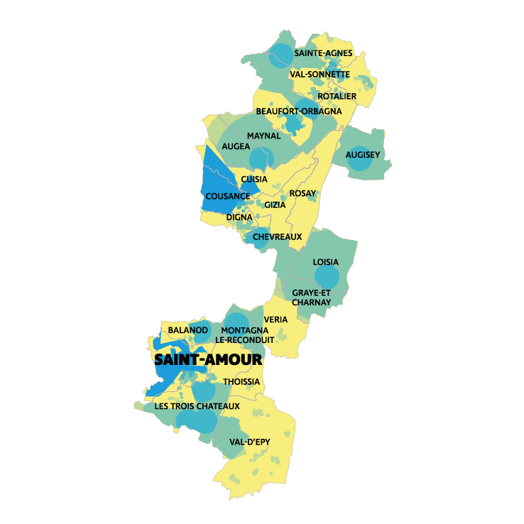 Carte montée en débit et très haut débit CC Porte du Jura